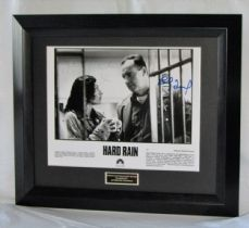 "A700MDRQ MINNIE DRIVER & RANDY QUAID - ""HARD RAIN"" DUAL SIGNED"
